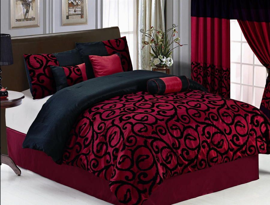 19 pc burgundy black comforter curtain sheet set queen size new bed in
