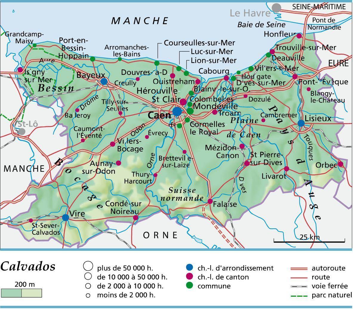 Calvados Carte Carte De France Region Visiter La Normandie Deauville