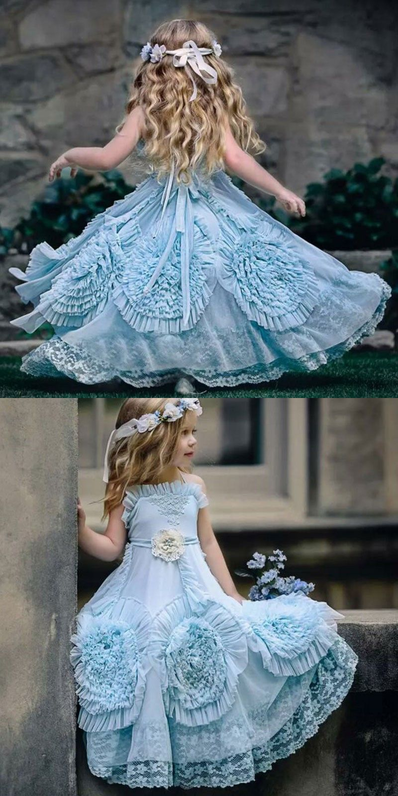 Aline spaghetti straps flower girl dresses with flowers lace