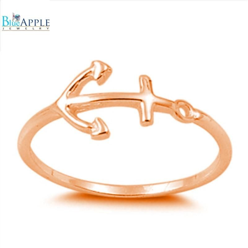 Sideways Anchor Ring Rose Gold Solid 925 Sterling Silver Polished