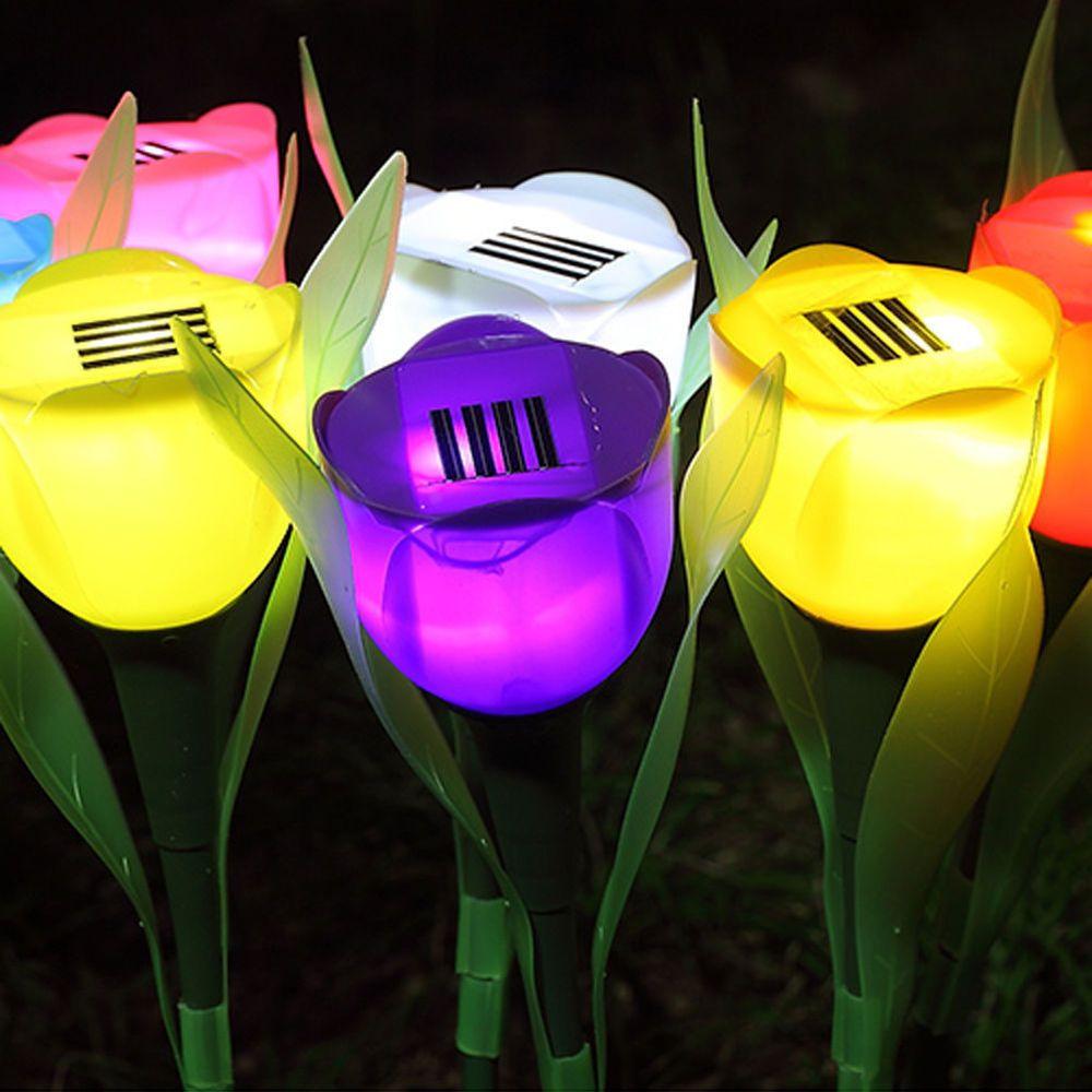 3pcs Outdoor Yard Garden Path Way Solar Power Tulip Landscape Flower Lights