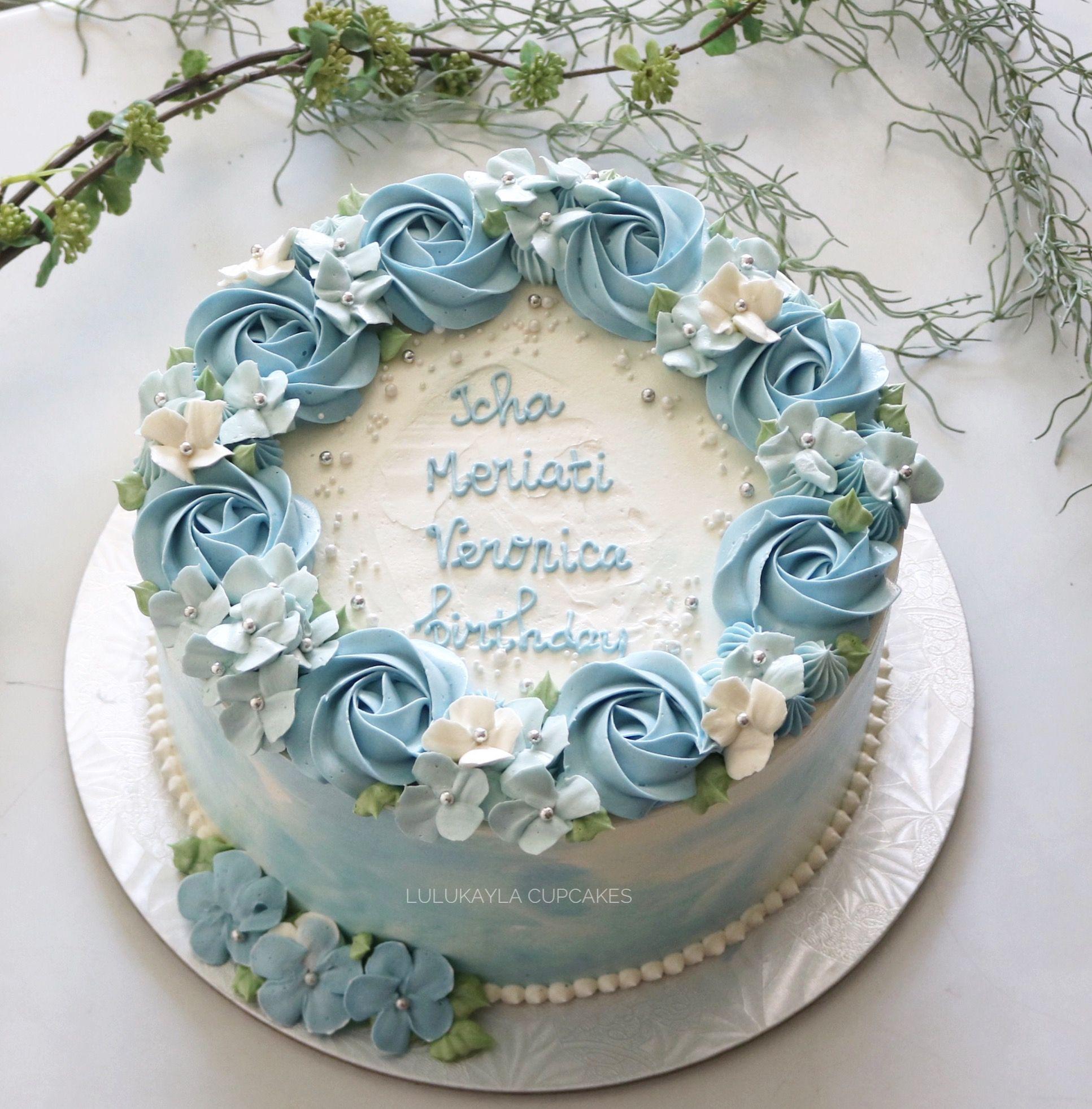 Blue Flower Cake Flower Cake Design Birthday Cake With Flowers Fresh Flower Cake