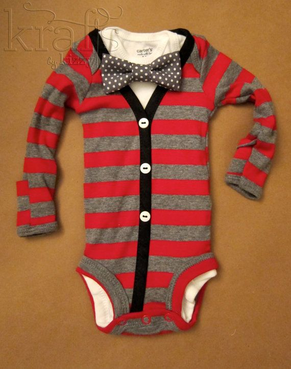 8ff77617e7ad Baby Boy Red/Gray Stripe with Black Cardigan Outfit with Removable Dark  Gray/White Dot Bow Tie