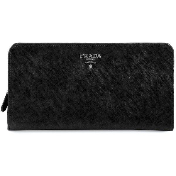 Prada Large Saffiano Leather Wallet ($650) ❤ liked on Polyvore