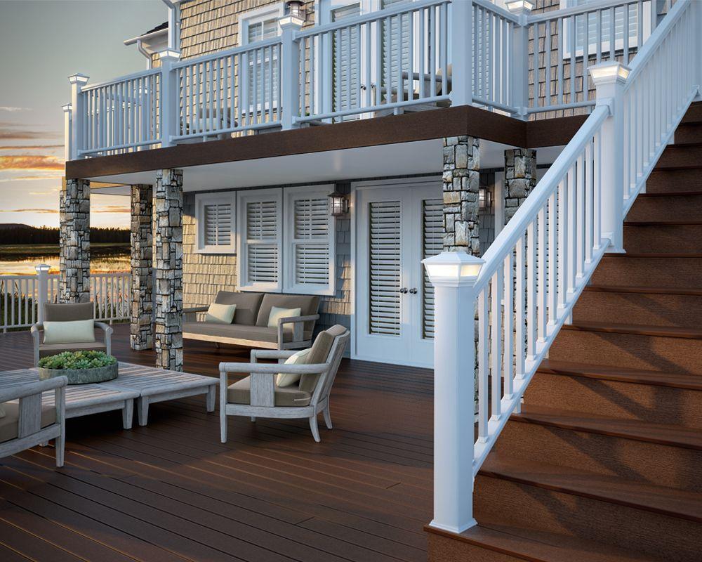 Deckorators dark brown composite deck with white aluminum