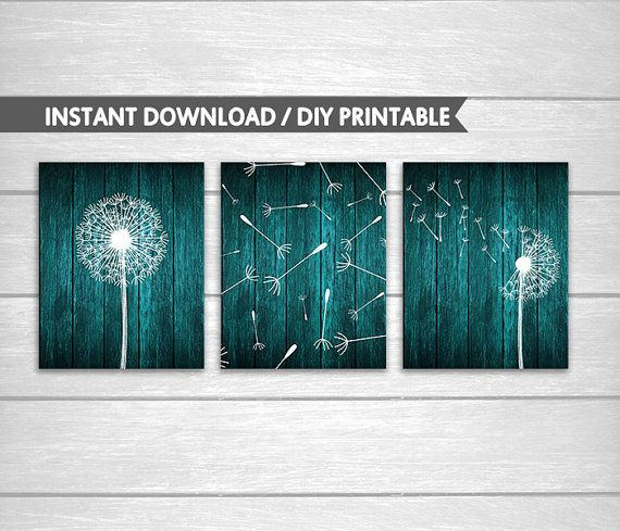 Wood Teal Dandelion DIY Printable Wall and Bathroom Art