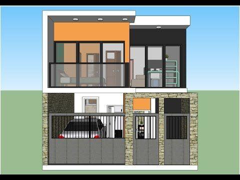 Casa con un terreno de 6x10m dos pisos y fachada moderna for Fachadas de casas modernas youtube