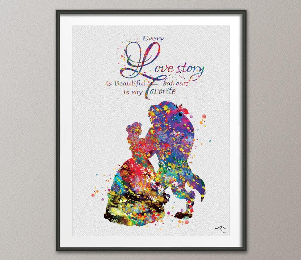 Beauty And The Beast Love Quote Belle Disney Princess Watercolor