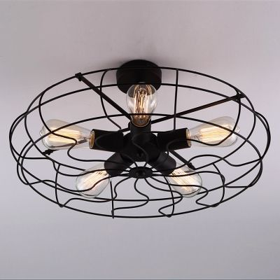 Novelty loft industry wrought iron fan led close to ceiling light novelty loft industry wrought iron fan led close to ceiling light mozeypictures