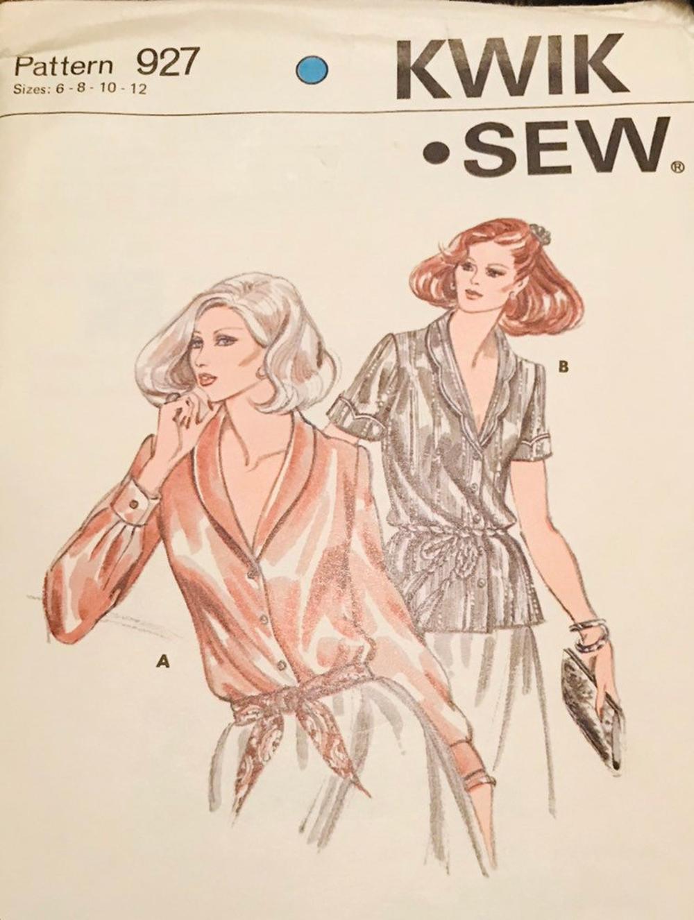 80's Kwik Sew Sewing Pattern 927 Shawl Blouse Misses Size 6 8 10 12 Uncut