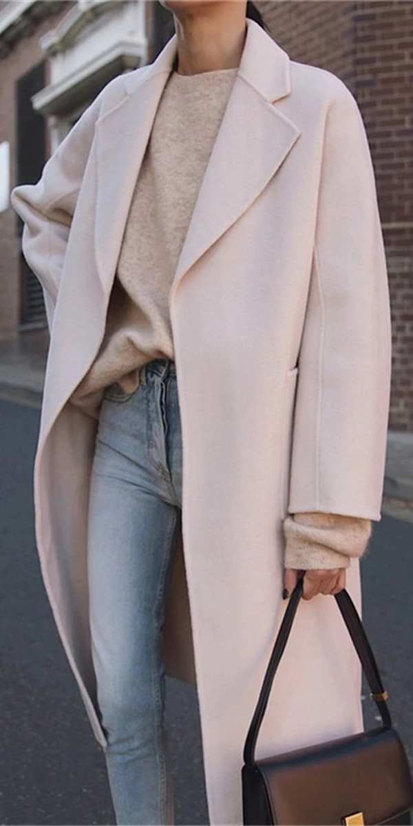 Photo of Fashion Large Lapel Long-Sleeved Solid Color Coats