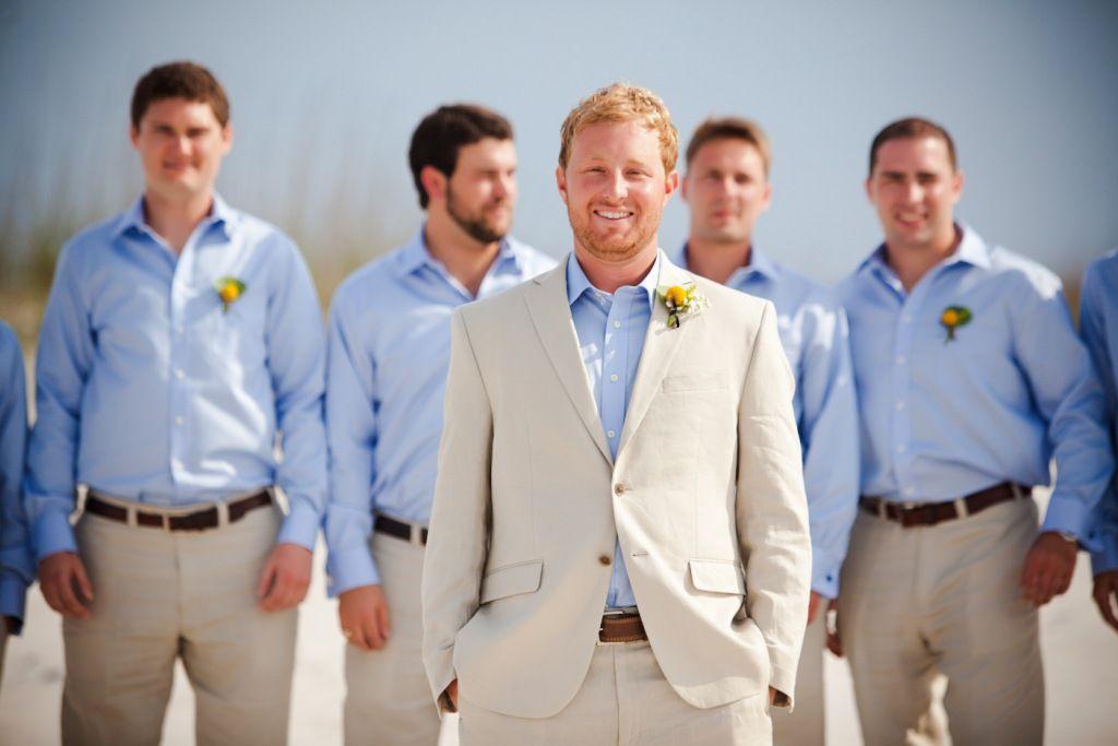 Groomsmen, khaki linen suit with blue shirt, Men\'s Warehouse | We ...