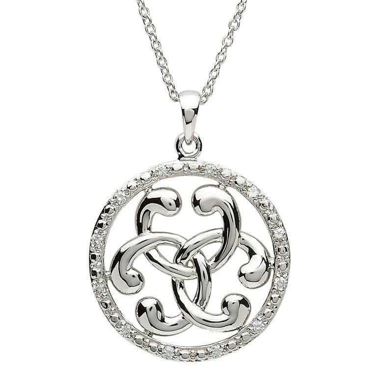 Silver Circle Stone Set Celtic Pendant