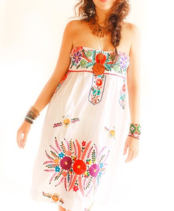 White Blanco Mexican party dress colorful floral by AidaCoronado ...