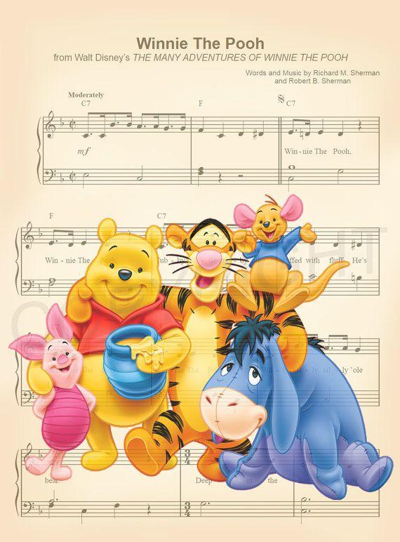 Aquí le damos una impresión de arte hoja de música de Winnie the ...