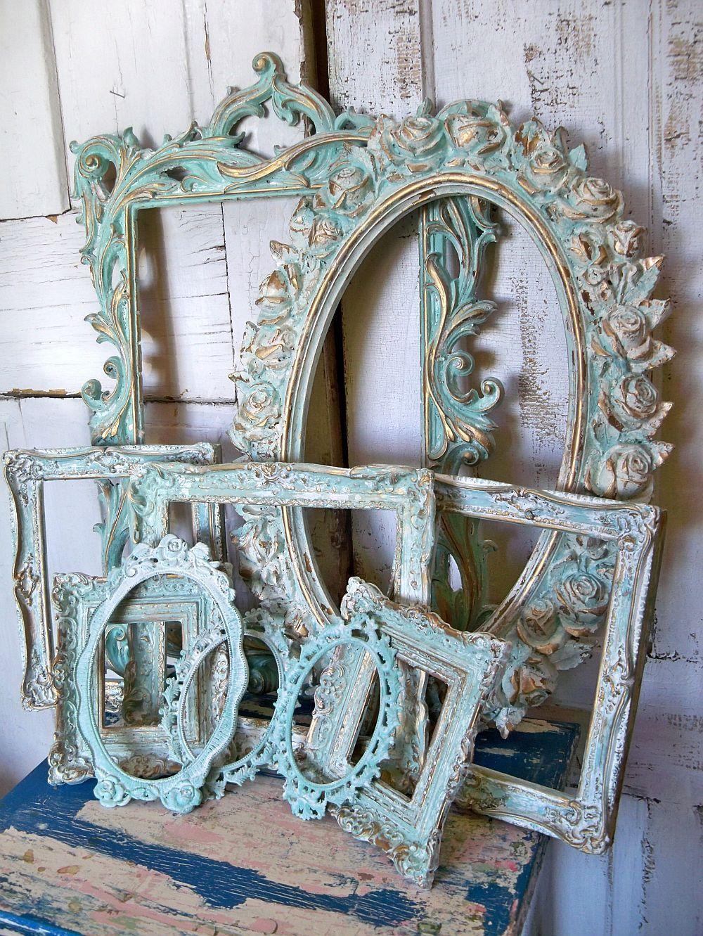 Aqua white ornate frame grouping vintage antique mix distressed