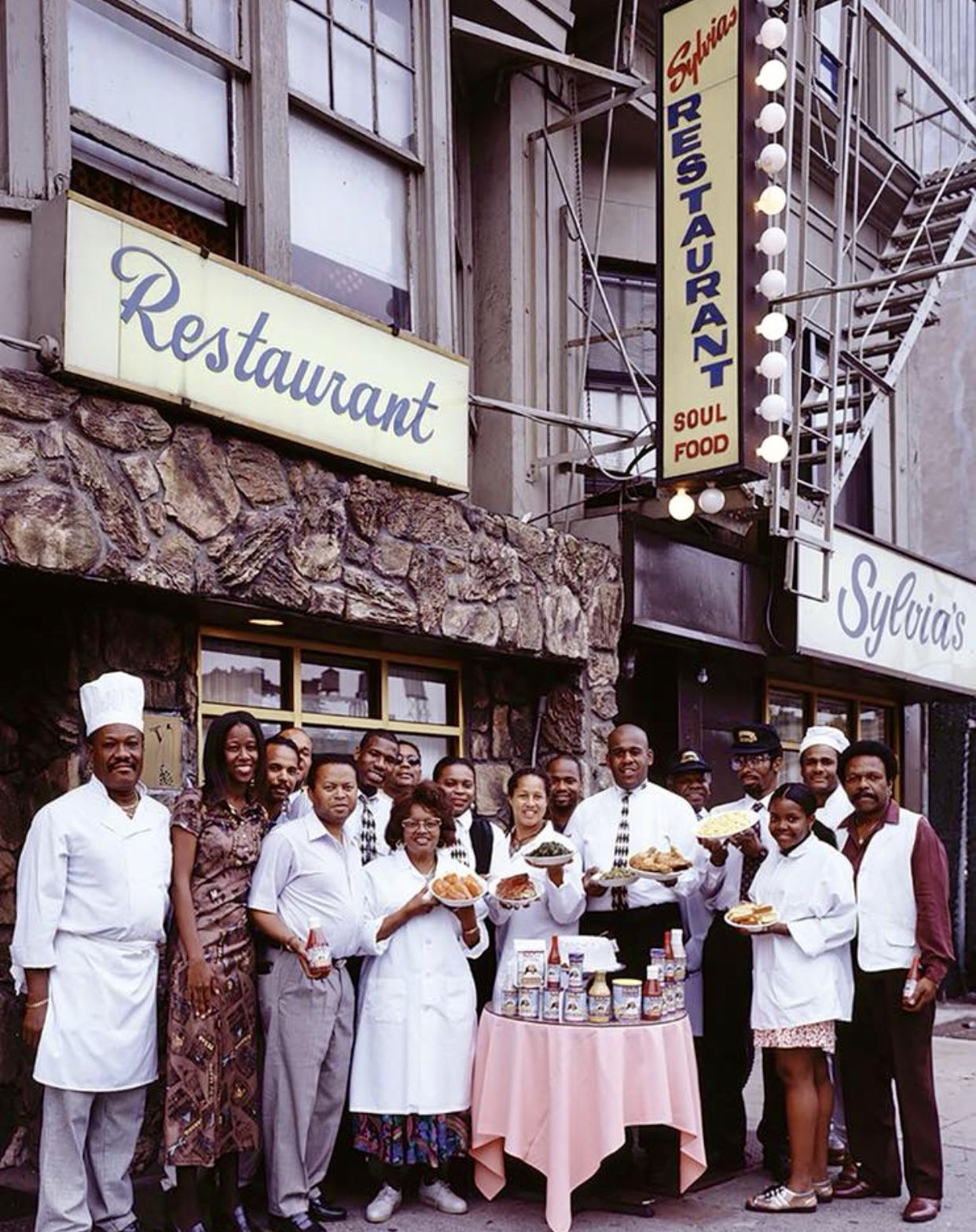 1980 Harlem Staff Of Sylvias Outside The Restaurant At 328