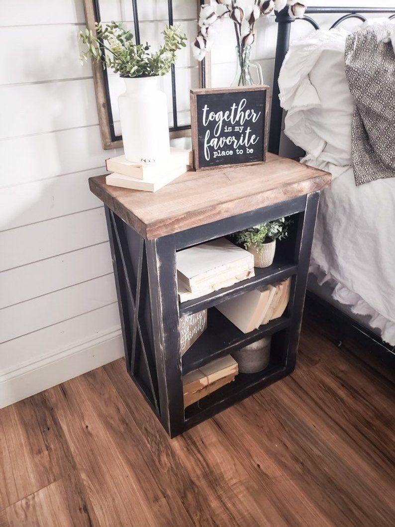 Farmhouse night stand wooden nightstand Farmhouse