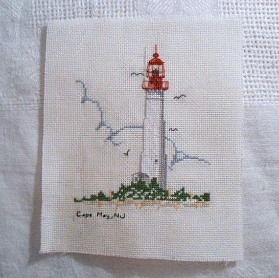 Cape May Nj Lighthouse Ocean Shore Sea Gull Beach Scene Detailed