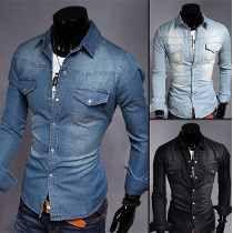 Camisa Preta Jeans Masculina - Frete Fixo