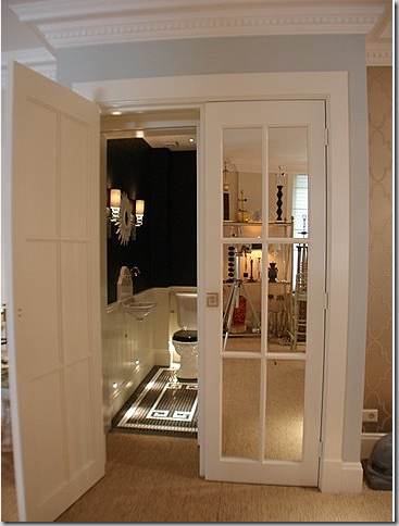 These Are Mirrored French Doors Leading To A Small Bath With Black Walls Squeal French Closet Doors French Doors Closet Doors