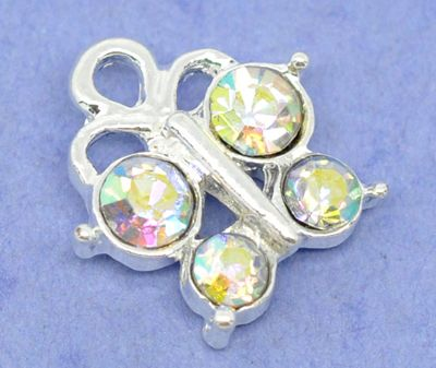 Adorable single sides butterfly charm/pendant with 4 AB Rhinestones. Can be used as a charm or as a pendant on a chain. Sold individually.  $.35