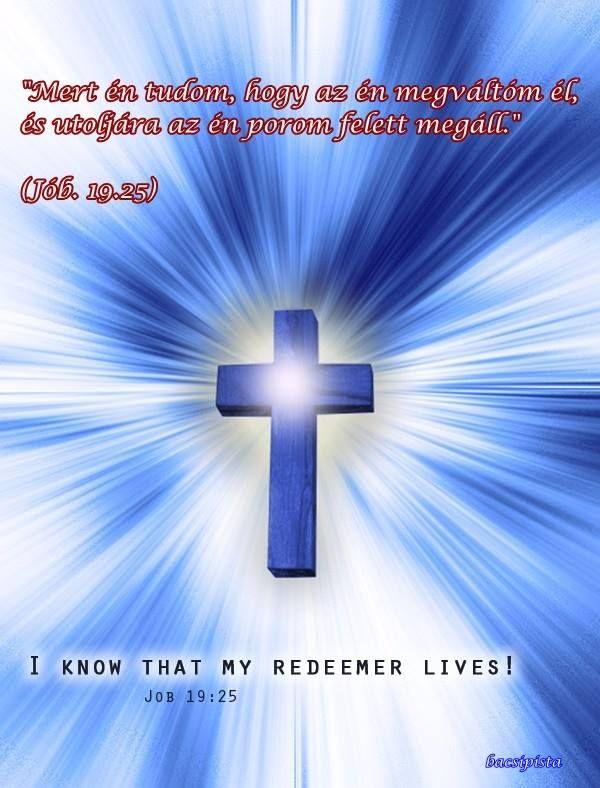 """""""Mert én tudom, hogy az én megváltóm él, és utoljára az én porom felett megáll."""" (Jób. 19.25)"""
