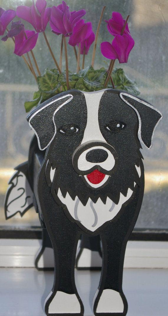 Border Collie Puppy Plant Pot Holder Garden Ornaments Decorations