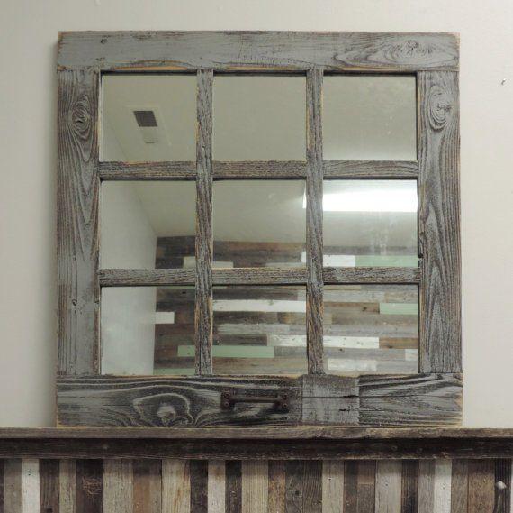 "9 Pane Square 24"" X 24"" Antique Style Barnwood Window Mirror"