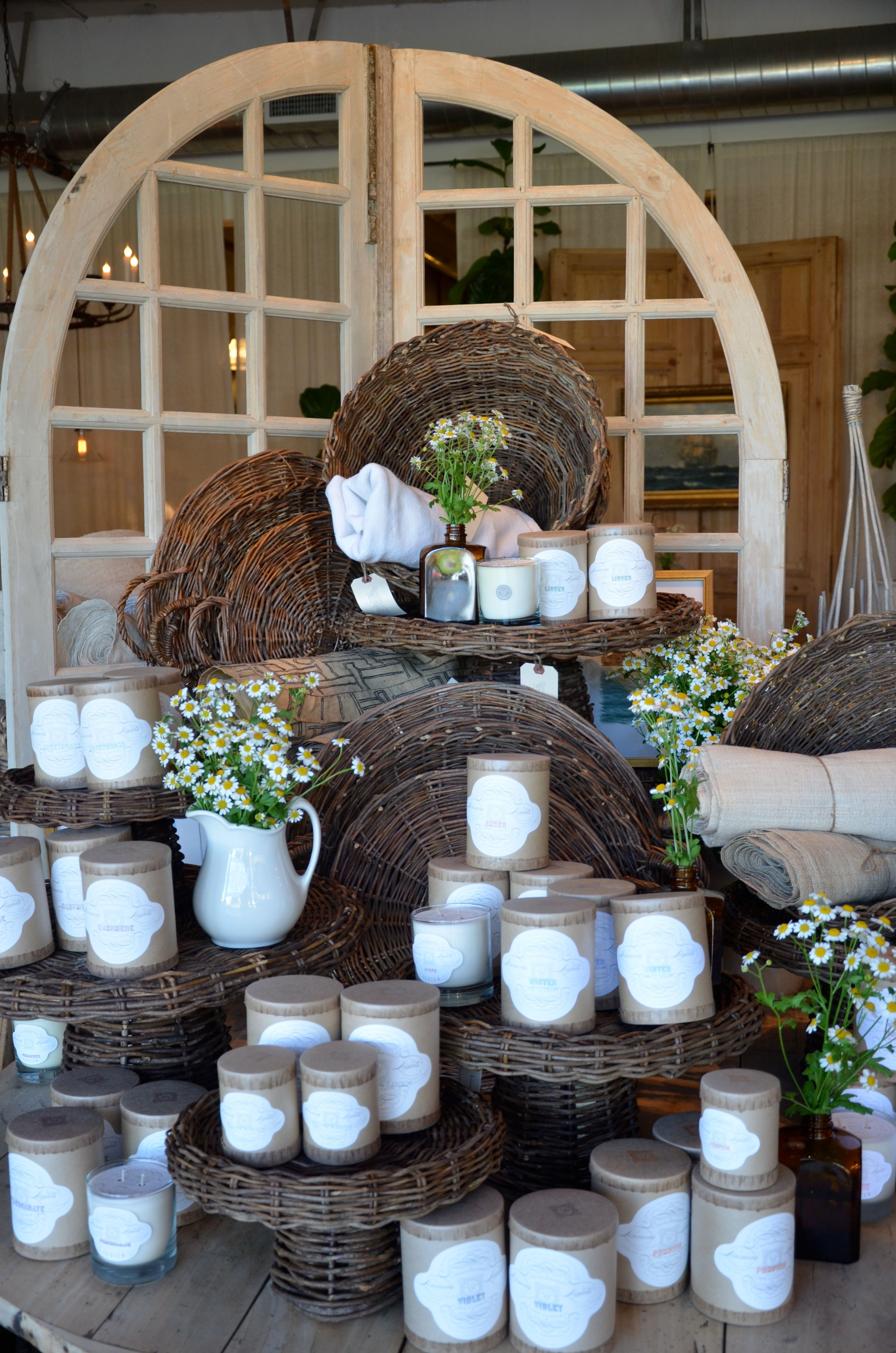 Willow Baskets And Linen Candle Display Retail Candle Displays Craft Fair Displays