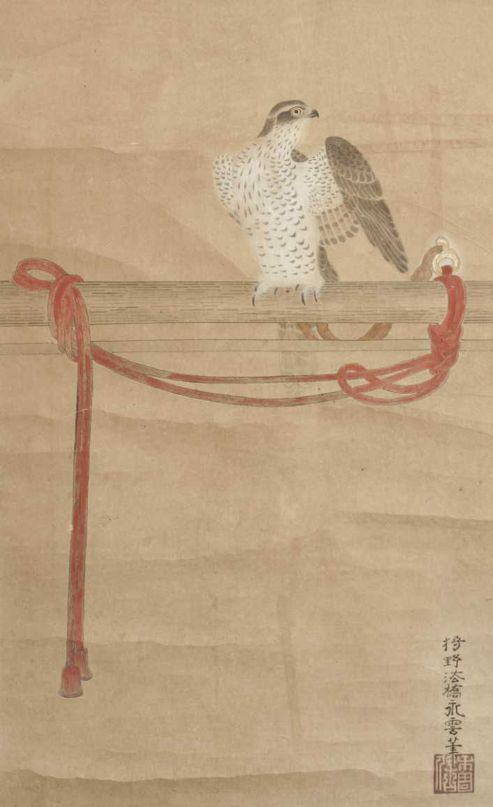 A scroll painting, ink and colours on paper, of a hawk tethered on a perch. Signed Kano Eiun (d. 1697). 17th century.