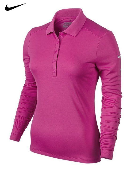 ae70f263 $39.99 - Nike Ladies Victory Long Sleeve Polo Large Hot Pink ...