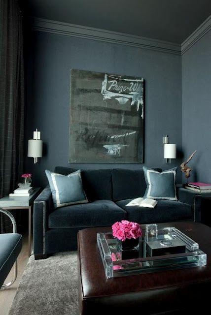 Steely Blue Velvet. Smoky Blue Walls | Living Room | Pinterest ...