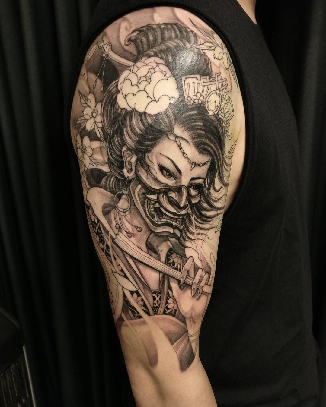 Tattoo by davidhoangtattoo black and grey asian - Tattoos geishas japonesas ...