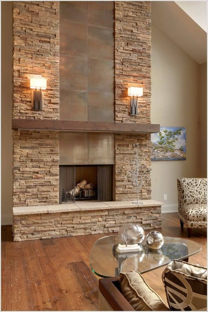 33 Elegant Interior Stone Wall Ideas For A Serious Design Upgrade Stone Fireplace Designs Modern Stone Fireplace Stone Fireplace Wall