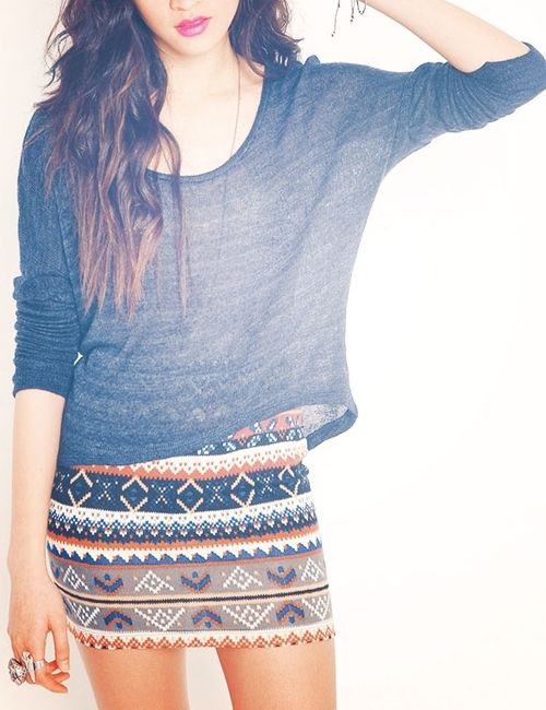 Simple dark blue sweat shirt and tribal skirt ib orange, dark blue, white, beige and black Love this outfit!