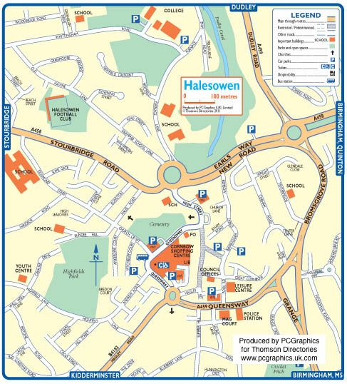 Map of Halesowen created in 2011 for Thomson Directories One of