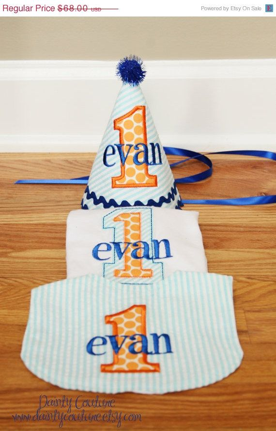 ON SALE Boys First Birthday Hat Bib And Shirt By DaintyCouture 6500