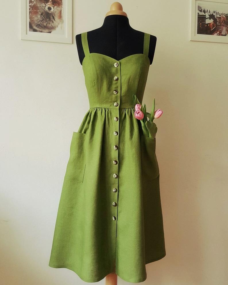 VESTIDO de lino verde PEARL Moss, vestido sin mangas, vestido de lino, vestido midi, vestido inspirado en la vendimia, vestido de botón hacia abajo, vestido de tiras