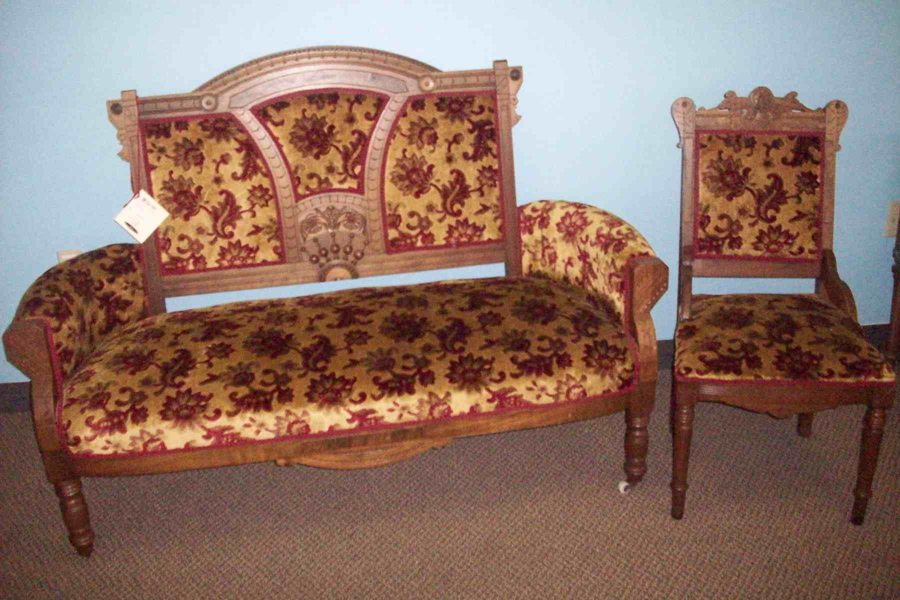 Walnut Victorian Settee & Chair Set for the formal parlor.