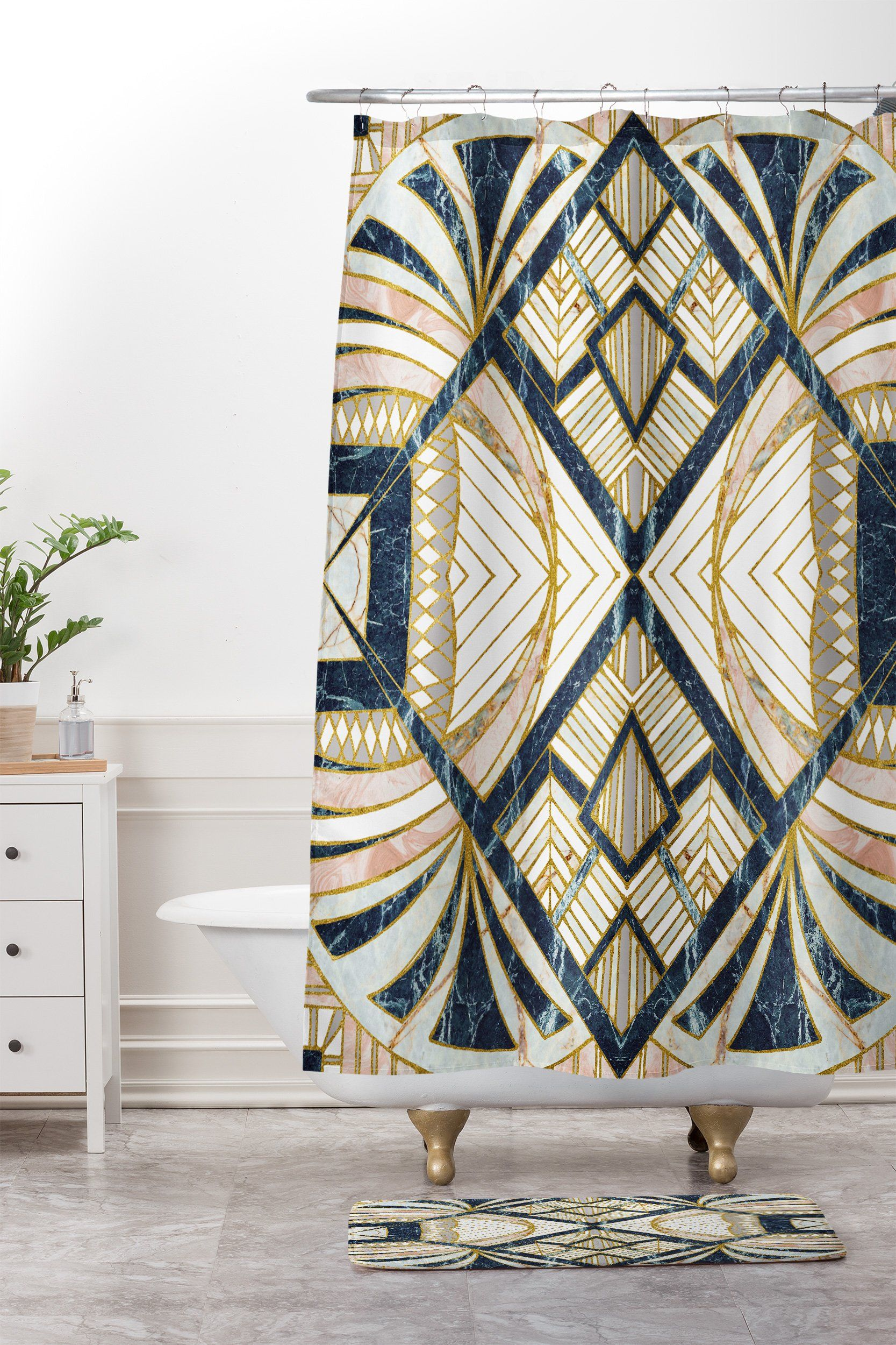Mosaic Marbled Art Deco Ii Shower Curtain And Mat Marta Barragan