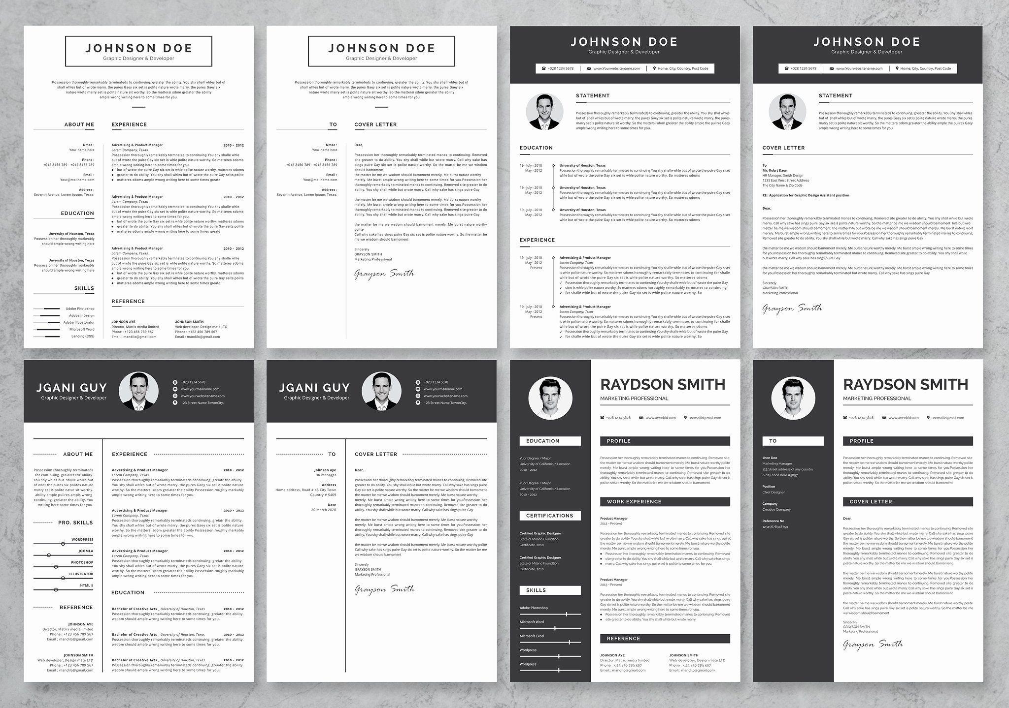 40 Word Resume/Cv Set Bundle #customizable#Fully#versatile ...