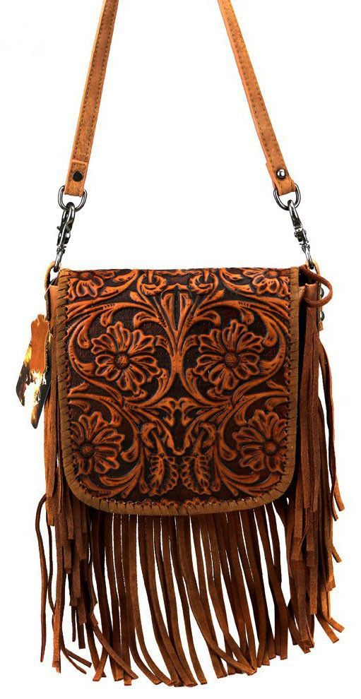 Fl Tooled Leather Cross Body Purse Bag