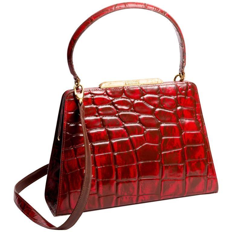 Christian Lacroix Vintage Croc Embossed Handbag c34DQN