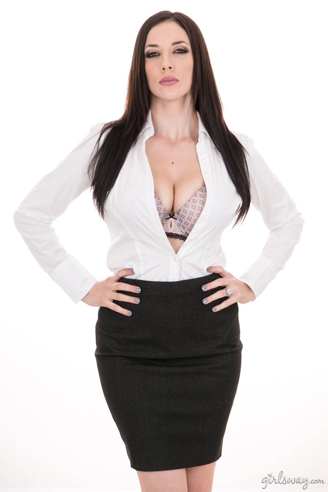 Jelena Jensen Joey Fisher Sweet Girls Secretary White Shirts Curves Display