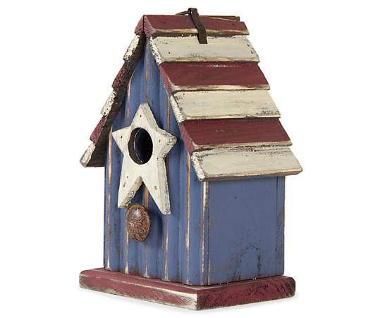 Red, White & Blue Star Opening Wood Birdhouse