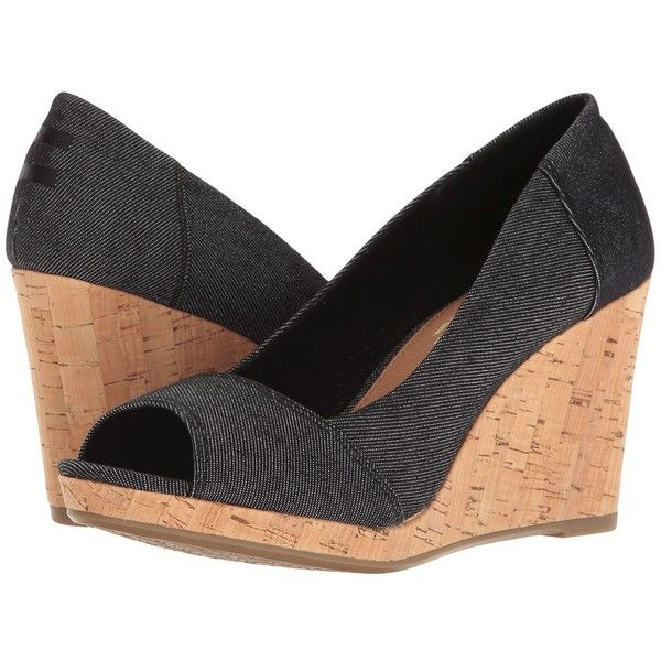 7fc4ce8d97e TOMS Stella Wedge (Black Denim) Women's Wedge Shoes ($79) ❤ liked ...