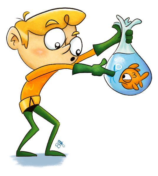 I like how Aquaman pokes the bag even though he has telepathic powers to speak to the fish.