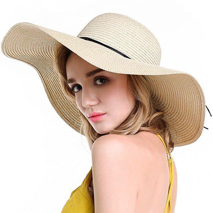 cc754fdb1c9 YUUVE Ladies Summer Straw Hat Foldable Beach Cap Wide Brim Large Fedora  Floppy Sun Hat for Women(Free Ribbon Gift)  Amazon.co.uk  Clothing