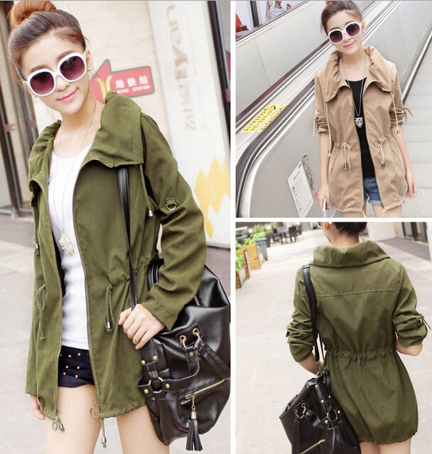 Parca De Entretiempo 25 En Color Verde Militar Y Beige Talla única Military Jacket Women Coats Jackets Women Green Jacket Women